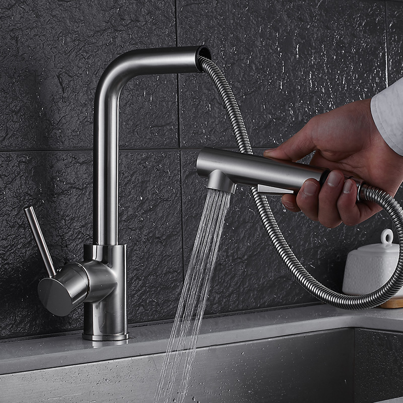 Kitchen Faucet Nickel finished Crane brass kitchen sink pull out kitchen faucet,Sink tap mixer with pull out shower head pull out kitchen faucet black oil brushed kitchen sink mixer tap 360 degree rotation kitchen mixer taps kitchen crane