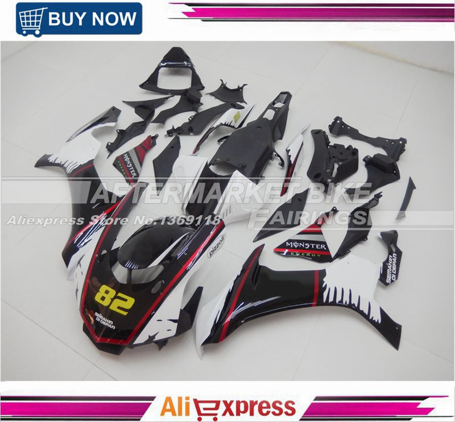 NO.82 Custom Design Rossi Decals ABS YZF R1 2015 2016 Fairing Kit For Yamaha YZFR1 15 16 Fairings Bodywork Black & Pearl White купить