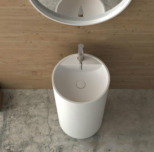 Corian Bathroom Pedestal Wash Basin Freestanding Solid Surface Matt Sink Cloakroom Vanity Wash Sink RS38236