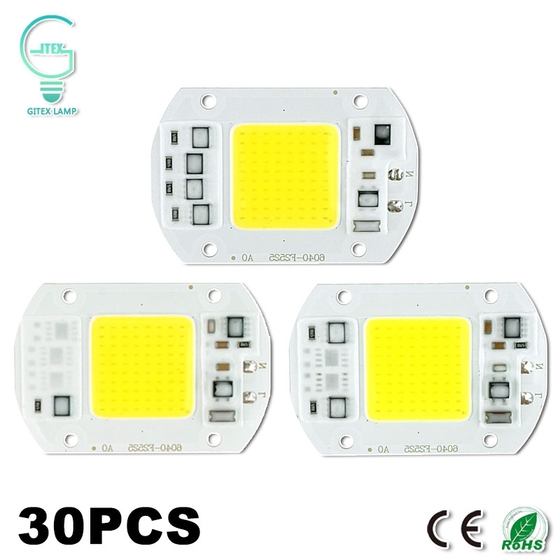 30Pcs COB LED Lamp Bulb 50W 30W 20W 15W 10W LED Chip 220V 240V Input Cold/Warm White Smart IC For DIY LED Spotlight Floodlight led lamp e27 led bulb 220v 230v 240v led lampada cold white 18w 24w 36w 50w cold white led light spotlight lamp free shipping