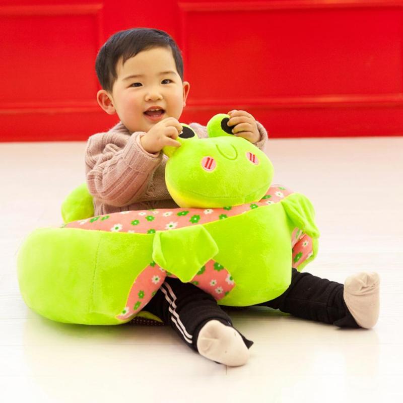 Cute Animal Short Plush Baby Seats Sofa Toys Cartoon Animal Seat Kids Plush Toy Learning Chair Leather Case Baby Sofa Toy