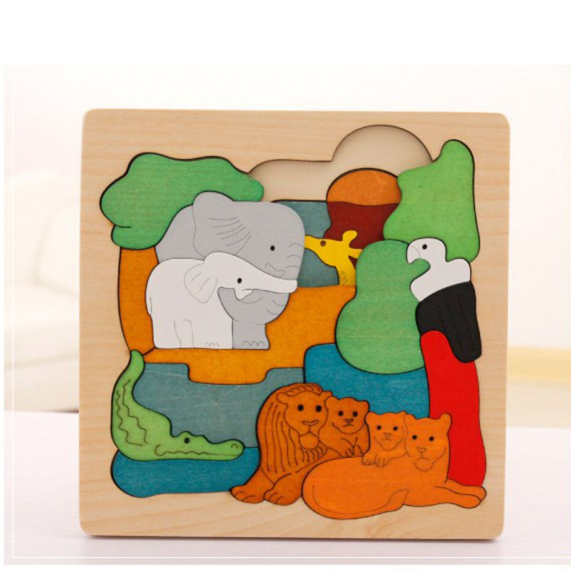 New Kids Children Educational Wooden Toys Multilayer Cartoon 3D Animal Puzzle Baby Hands On Ability Baby