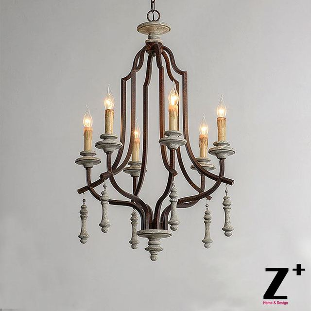 American Country Vintage Iron Wood Chandelier Golden Painting Or Rustic Finish Free