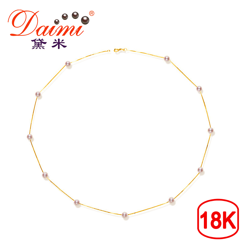DAIMI Tin Cup Chain Necklace 18K Gold with 4.5-5mm White Round Freshwater Pearl Necklace yoursfs heart necklace for mother s day with round austria crystal gift 18k white gold plated