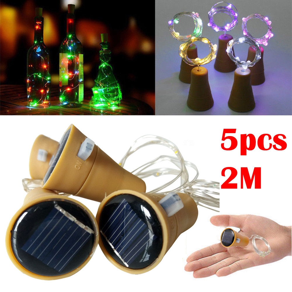 LED Lamp 5PCS 2M Solar Cork Wine Bottle Stopper Copper Wire String Lights Fairy Lamps Led Strip Waterproof