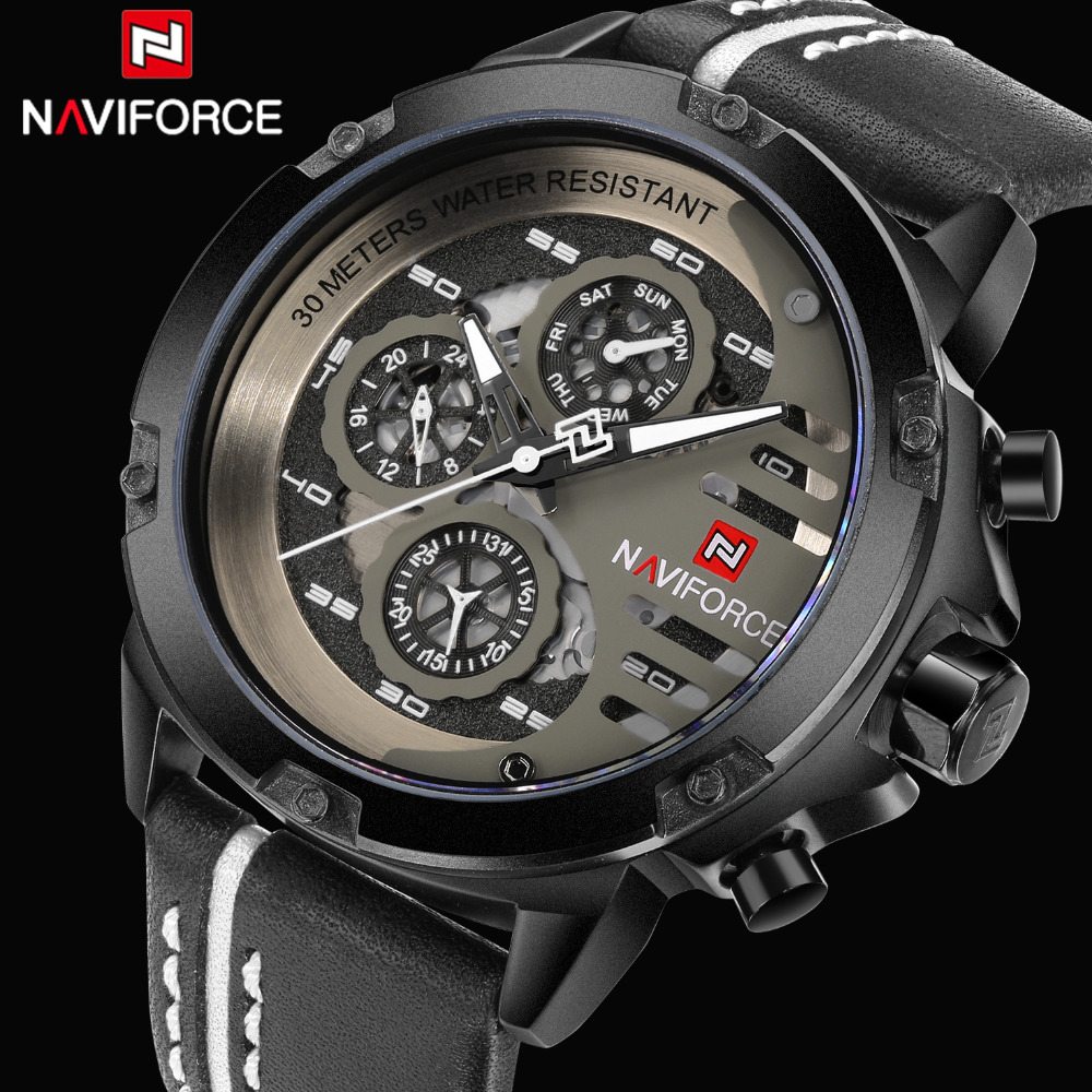 NAVIFORCE Fashion Mens Sport Quartz Watches 24 Hour Display Casual Men Wrist watch Leather Strap Male Clock Relogio Masculino sunward relogio masculino saat clock women men retro design leather band analog alloy quartz wrist watches horloge2017