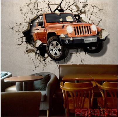 Custom 3d photo car broken wall mural Furama personality s