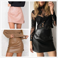2016 New Arrival OL PU Leather Skirts High Waist Sexy Vintage A-Line Office Skirts Womens Solid Mini Bodycon Skirt Plus Size 12