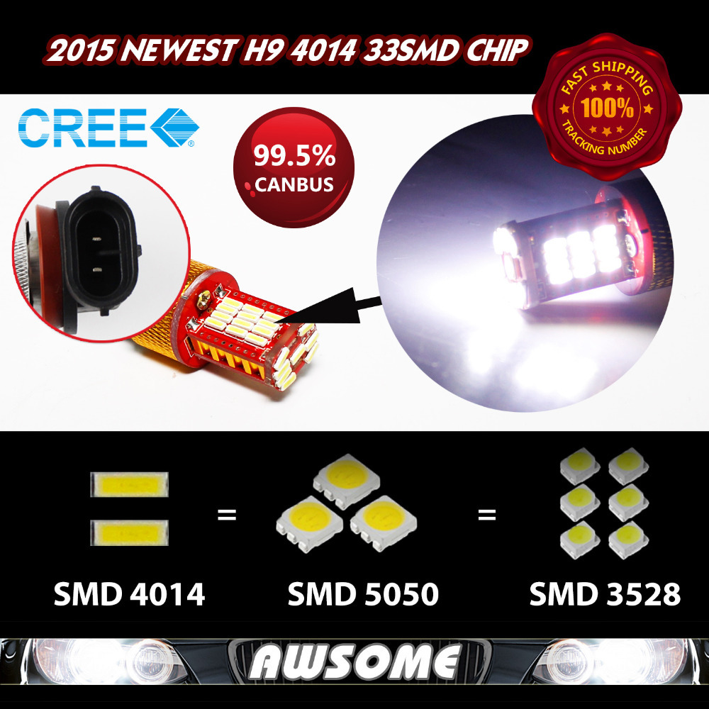 20x H9 Car Truck Fog DRL Driving Headlight Source 33smd 4014 Geunine Canbus Strong Bright White 1100LM