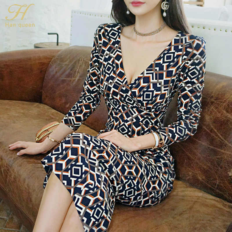 H Han queen 2018 осеннее винтажное платье-карандаш с геометрическим принтом, женское облегающее платье в стиле бохо, облегающее длинное платье миди