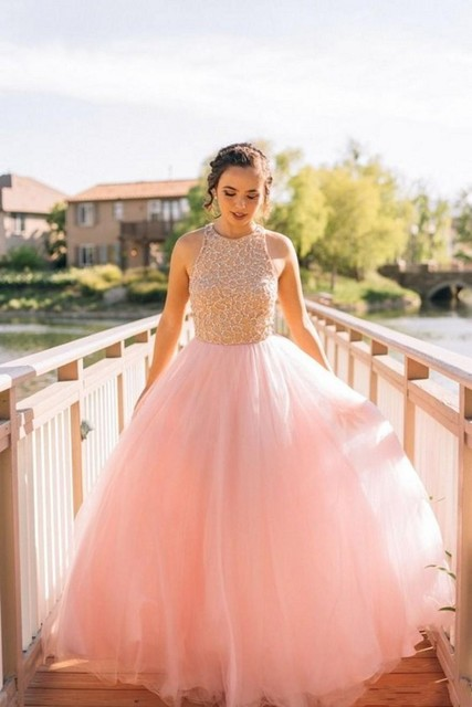 9b5bd3e85347 Pink Color Wedding Dresses 2017 Halter Neck Sleeves Garden Wedding Gowns  Beautiful Embroidery A-Line Bridal GownsZHP955