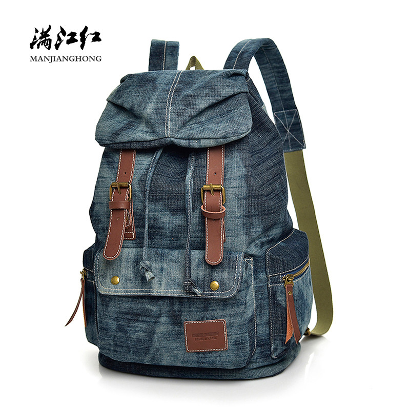 Vintage Denim Men Backpack Drawstring Casual Large Travel Backpack Women Female Leisure Student School Bags For