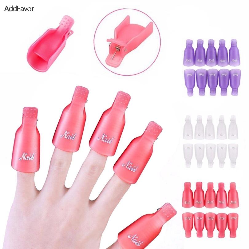 AddFavor 10Pcs Nail Polish Remover Cap Nail Gel Aid Clip Wrap Kit Art Accessories Acrylic Nail Tools Set Cleaner Professional