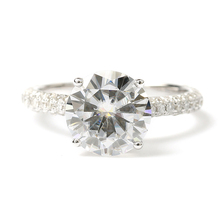 DEF Color 3 Carat CT Round Prongs Lab Grown Moissanite Diamond Ring With Diamond Accents Solid 14K 585 White Gold