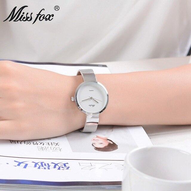 La signorina fox impermeabile 50 m orologio da polso di modo semplice delle donne della vigilanza di alta qualità delle signore della vigilanza del quarzo studente filo della vigilanza del braccialetto