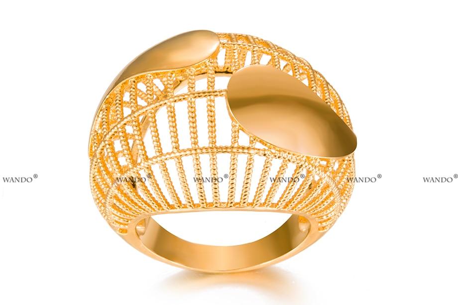 3252d95ea440 WANDO de oro de calidad anillo de Color de lujo Pave Setting ...
