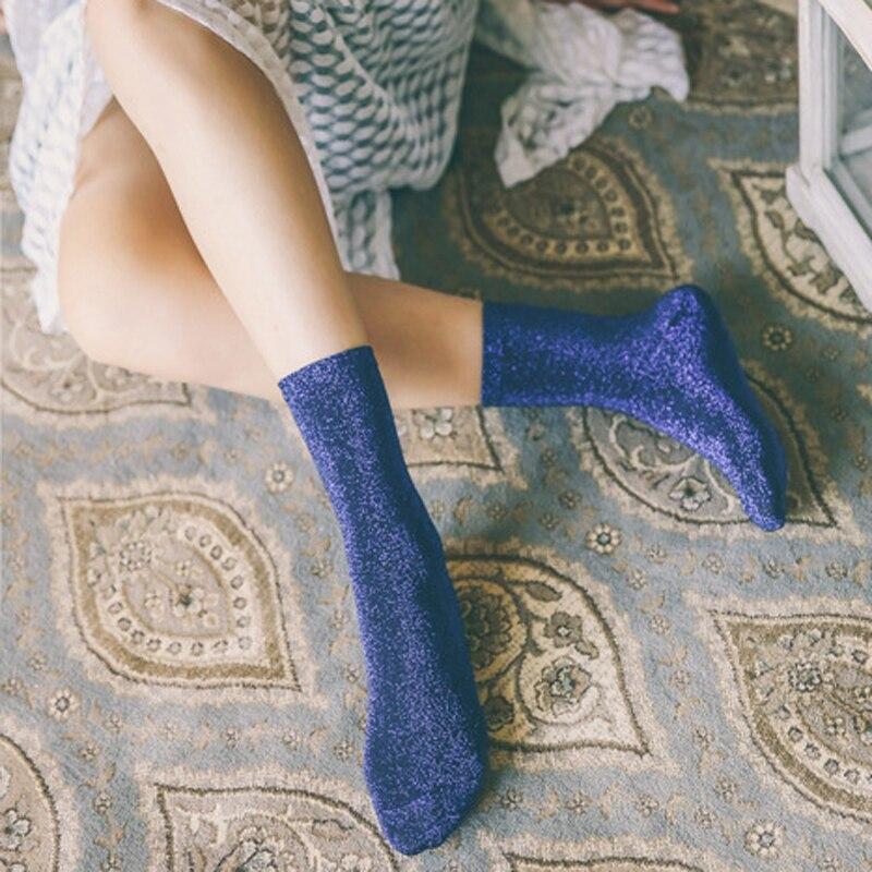 1pair Women Vintage Glitter   Socks   Pure Color Autumn Winter Cotton   Socks   for Female Funny   Socks   Art Cute Retro Short   Sock   Meias
