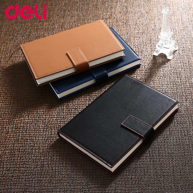 Deli business notepad retro good quality leather notebook with a pen notebook composition book hard copybook 25k deli 3164 notebook business meeting diary book with a gel pen black leather stationery thick notebook