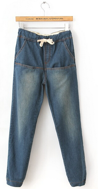 De las mujeres Jeans Pantalones Harem de La Manera Sueltan Los Pantalones de Jean de Mezclilla Cintura Elástica Pantalones Casual Wear Plus Size PT-064