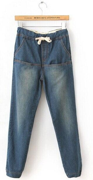 Women Jeans Harem Pants Fashion Elastic Waist Denim Pants Loose Jean Trousers Casual Wear Plus Size PT-064