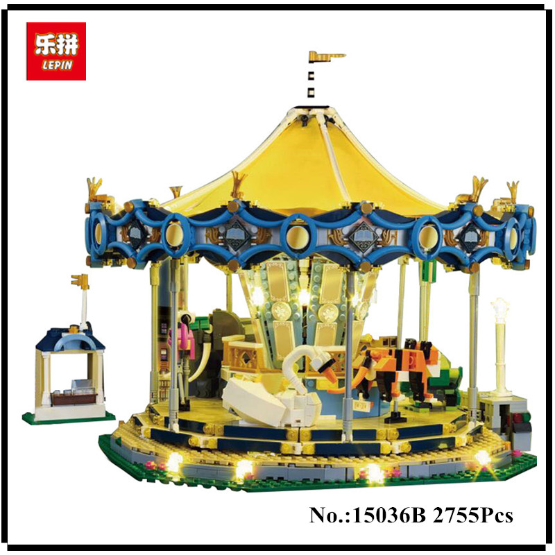 IN STOCK Lighting Lepin 15036 2705Pcs Genuine Street Series The New Carousel Children Building Blocks Bricks Boy Toys Model Gift dhl more stock 2705pcs lepin 15013 city street carousel model building blocks bricks intelligence toys compatible with 10196