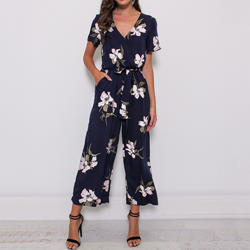 New Fashion Women V Neck Short Sleeve Loose Playsuit Ladies Party Romper Floral Print Long Jumpsuits