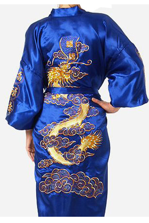 Hot Sale Blue Chinese Men's Silk Satin Bathrobe Embroider Kimono Gown Vintage Dragon Pattern Sleepwear S M L XL XXL XXXL MR020