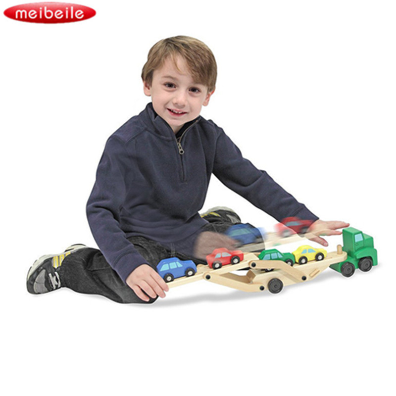 Classic Toy Car Carrier Truck and Cars Wooden Toy Set With 1 Truck and 4 Cars For Chirldren birthday gift Color random