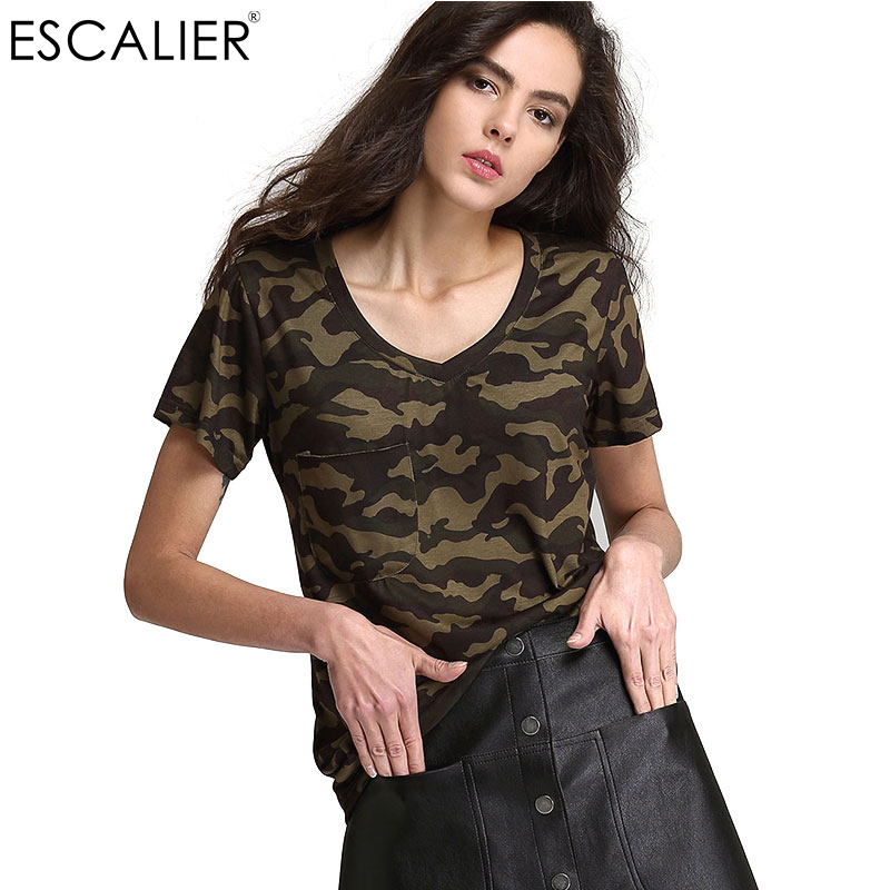 Escalier Summer Print Broadcloth V-Neck Green femmes T-shirt Fashion Lady Camouflage loisirs T-shirt à manches courtes