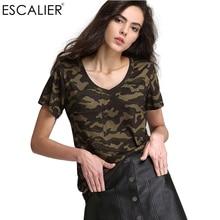 Escalier Summer Print Broadcloth V-Neck Green women T-shirt Fashion Lady Camouflage leisure Short Sleeve Tee Shirt