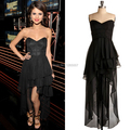 Cheap Selena Gomez Dress Simple Sweetheart Short Front Long Back Chiffon Black Summer Celebrity Dresses Special Occasion Dresses