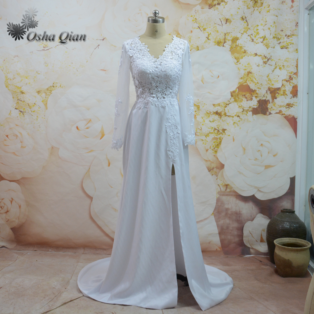 Ivory Simple Wedding Dress Long Sleeve High Slit Lace Wedding Gown ...