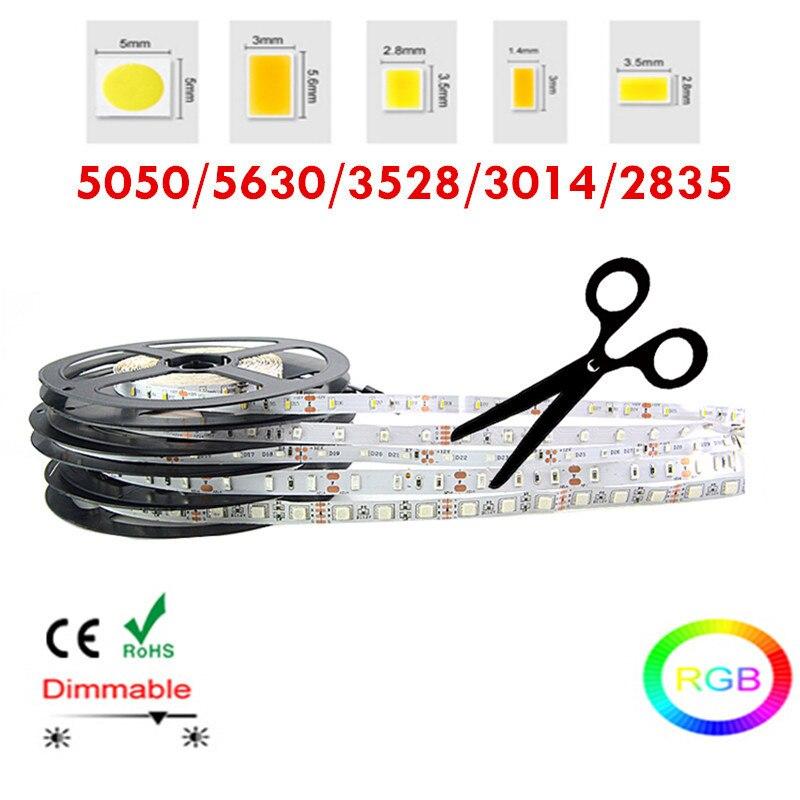 5 M/10 M RGB LED Luz de Tira 2835 3014 5630 3528 5050SMD Flexível Fita Corda Decoração de Natal IP20 neon Fita De Levou Tiras
