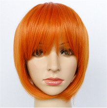 1pcs New arrival Fashion Hot Selling Natural orange Heat Resistant Synthetic Hair Women Full Fringe Short Bob Wigs free shipping