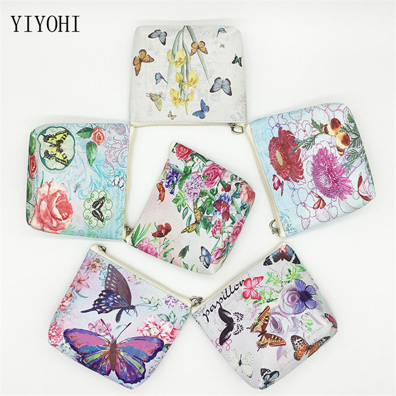 1pcs vintage butterfly pattern leather coin purses zipper zero wallet child girl boy women purse coin bag key packet drop ship