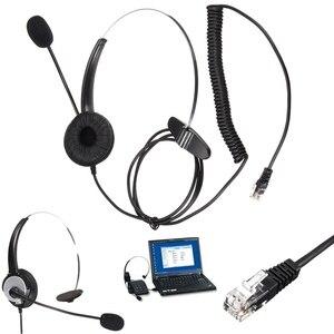 Image 4 - Leory rj11コールセンターヘッドフォン電話ノイズキャンセヘッドフォン付きマイクコネクタヘッドセット最高の価格