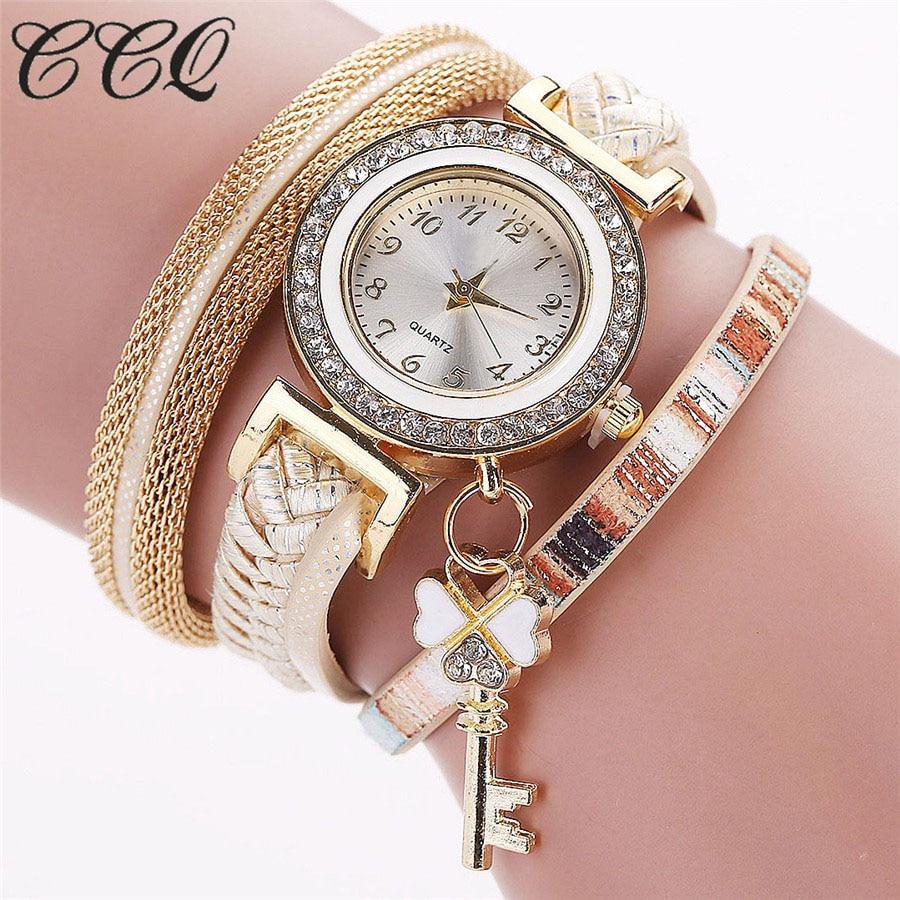 2016 New Fashion Gold Luxury Crystal Key Watch Casual