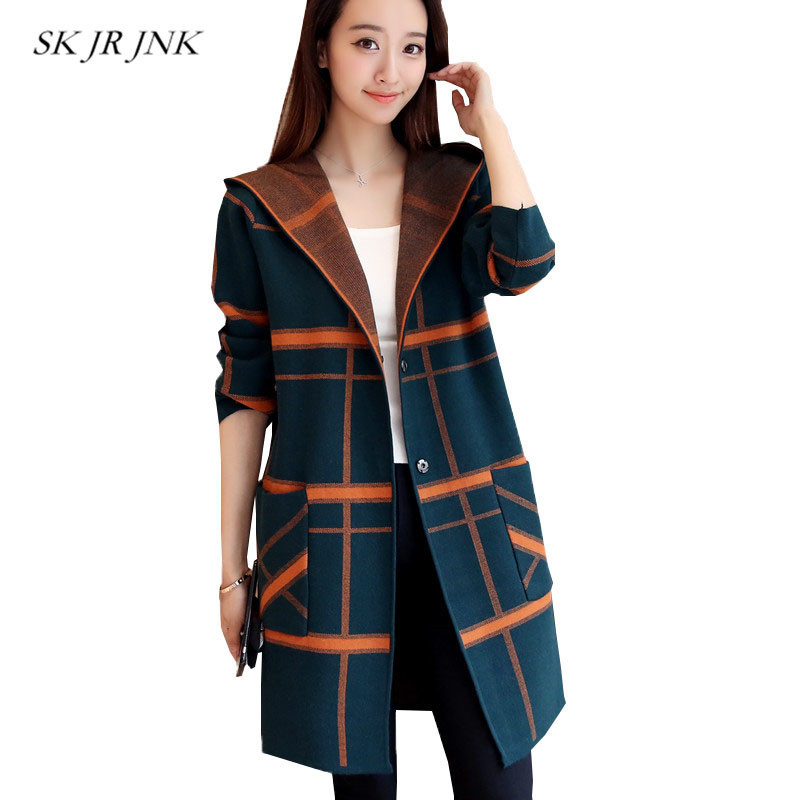 Women Knitted Sweaters Fashion Autumn Winter Hooded Casual Button Cotton Stitching Knitwear Coat Stripe Sweaters Cardigans SR273