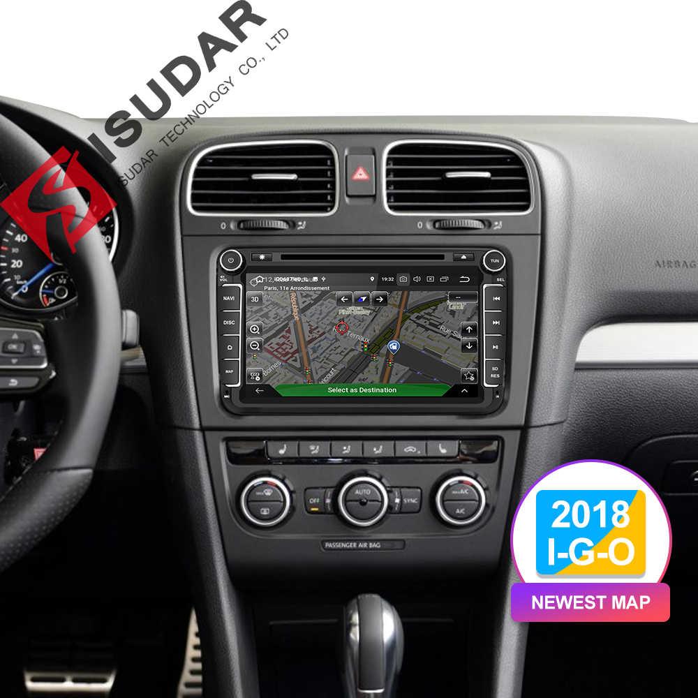Isudar dwa Din samochodowy odtwarzacz multimedialny Android 9 radio samochodowe dla Skoda/Seat/Volkswagen/VW/Passat b7/POLO/GOLF 5 6 DVD GPS 4 rdzenie