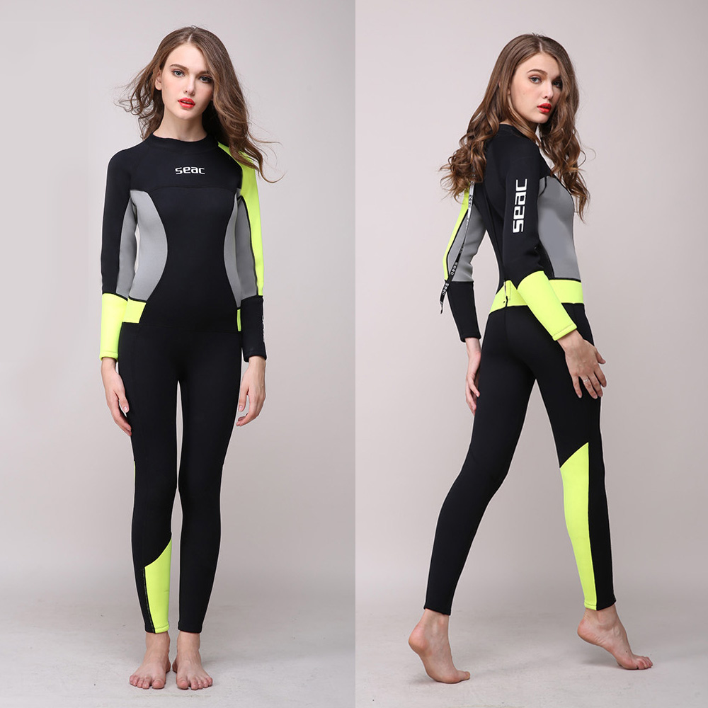 цена на Women's Full Body Wetsuit 3mm Neoprene One-piece Jumpsuit Wet suit Girls Diving Suits Scuba Surfing Snorkeling  Back Zip