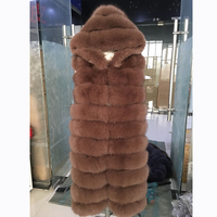 Luxury Women's Real Fox Fur Vests With Hooded 2018 NEW Natural Genuine Fur Gilets Female Winter Long Fur Coat