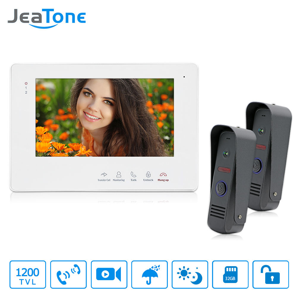 JeaTone 7 TFT HD Video Doorbell Door Phone Intercom System IR Night Vision Camera IP65 Waterproof Home Security Kit 1200TVL tmezon 4 inch tft color monitor 1200tvl camera video door phone intercom security speaker system waterproof ir night vision 4v1