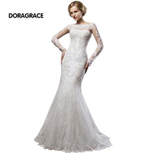Romantic Long Sleeves Lace Wedding Dresses With Jacket Mermaid Bridal Gowns vestido de noiva DG0056