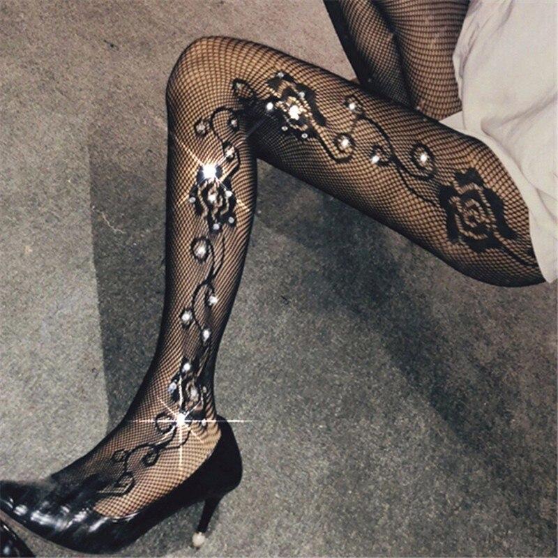 Women Stockings Sexy Tights Glitter Fishnet Pantyhose Glitter Stockings Rhinestone Hosiery Femme Collant Lenceria Lingerie SW176