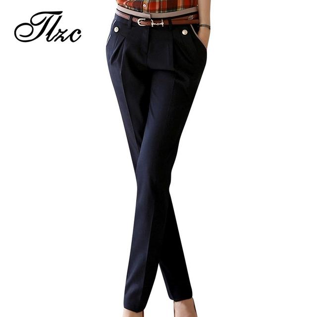 Tlzc señora carrera suit pants 2017 nueva oficina de diseño de calidad superior tamaño de la ropa s-2xl mujeres pantalones rectos ocasionales