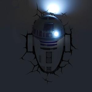 Image 5 - Novelty 3D Wall Lamp Star Wars Decor Light Death Star Master Yoda BB 8 R2D2 Darth Vaders Lightsaber Cordless Battery Operated