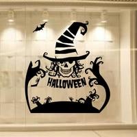 Mới nhất Tường Sticker Cho Halloween Ngày Độc Đáo Joker Vinyl Áp Phích Trang Trí Nhà của Sổ Phản Chiếu, tinh khiết Màu Đen PVC Tường Decals