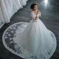 wuzhiyi wedding dress scoop vestido de noiva longa A Line Vintage dress for wedding Long Sleeve Wedding Gown robe de mariee hot