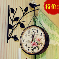 Free Shipping Fashion Vintage Digital Wall Clock European Style Garden Vintage Metal Craft Dual Plates Wall