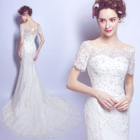 2017 new stock plus size women bridal gown wedding dress mermaid long big large fish tail train lace white sexy hot 6161